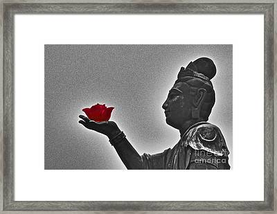 Buddha With Rose  Framed Print