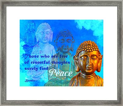 Buddha's Thoughts Of Peace Framed Print by Ginny Gaura