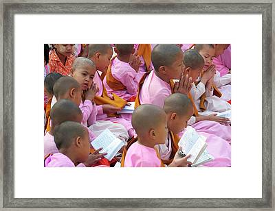 Buddhist Children Praying Framed Print by Peter Menzel