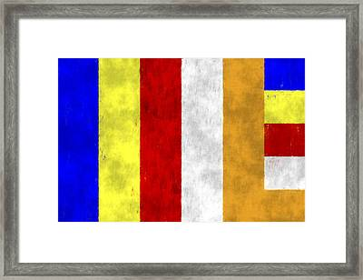 Buddhist Flag Framed Print by World Art Prints And Designs