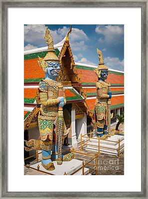 Buddhist Guardians Framed Print by Inge Johnsson