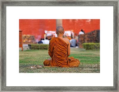 Buddhist Monk At Lumbini In Nepal Framed Print
