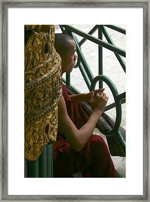Buddhist Monk Leaning Against A Pillar Sule Pagoda Central Yangon Myanar Framed Print by PIXELS  XPOSED Ralph A Ledergerber Photography