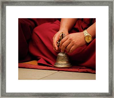 Buddhist Monk Playing Musical Bell Framed Print