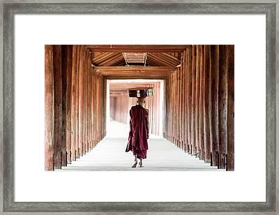 Buddhist Monk Walking Along Temple Framed Print