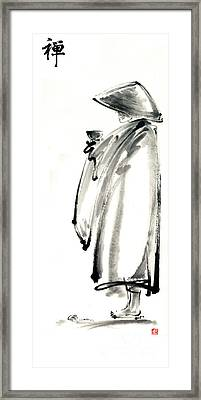 Buddhist Monk With A Bowl Zen Calligraphy Original Ink Painting Artwork Framed Print