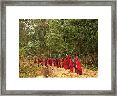 Buddhist Monks In A Losar Ceremonial Framed Print by Jaina Mishra