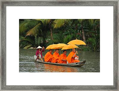 Buddhist Monks In Mekong River Framed Print by Dung Ma