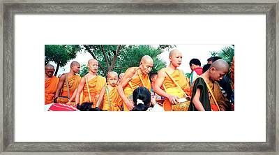Buddhist Monks Luang Prabang Laos Framed Print by Panoramic Images