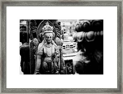 Buddhist Sculpture Near Swayambhunath Framed Print by Raimond Klavins