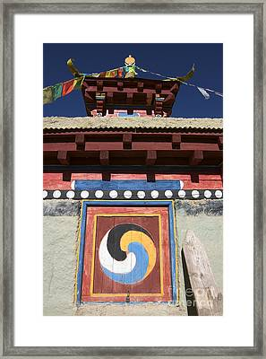 Buddhist Symbol On Chorten - Tibet Framed Print