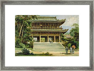Buddhist Temple At Kyoto, Japan Framed Print by Ernst Heyn