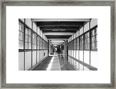 Buddhist Temple In Black And White - Passageway Framed Print
