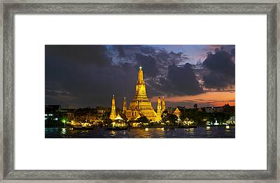 Buddhist Temple Lit Up At Dawn, Wat Framed Print by Panoramic Images
