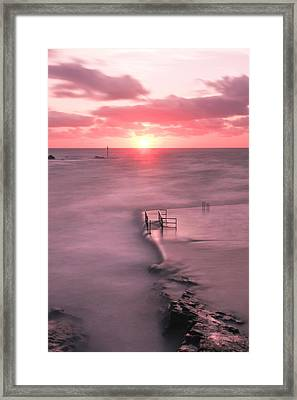 Bude Sea Pool Sunset Framed Print by Debra Jayne