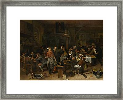 Budget Day Framed Print by Jan Steen