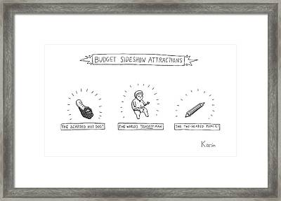 Budget Sideshow Attractions Like A Baby Framed Print by Zachary Kanin