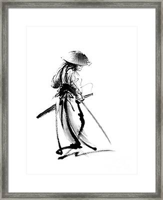 Samurai With A Sword. Ronin - Lone Wolf. Framed Print