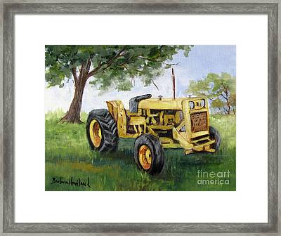 Bud's Yellow Tractor Framed Print