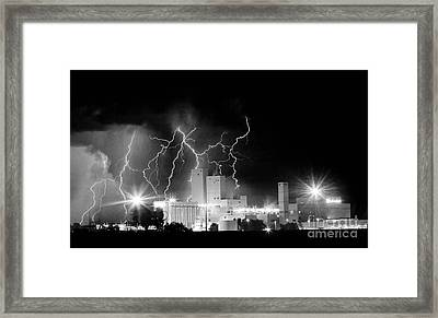 Budweiser Lightning Thunderstorm Moving Out Bw Pano Framed Print