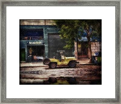 Buenos Aires Jeep Under The Rain Framed Print by Diane Dugas
