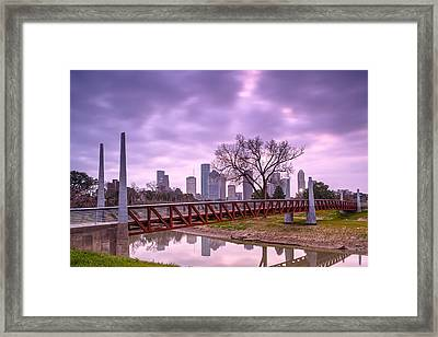 Buffalo Bayou Carruth Bridge And Downtown Houston Skyline Framed Print by Silvio Ligutti