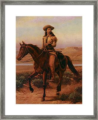 Buffalo Bill On Charlie Framed Print by William Cary