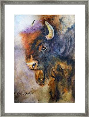 Framed Print featuring the painting Buffalo Business by Karen Kennedy Chatham