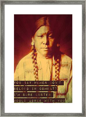 Buffalo Calf Road Woman Framed Print by Michelle Dallocchio