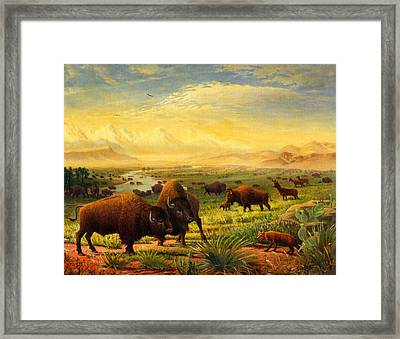 Buffalo Fox Great Plains Western Landscape Oil Painting - Bison - Americana - Historic - Walt Curlee Framed Print by Walt Curlee