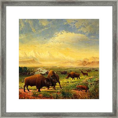 Buffalo Fox Great Plains Western Landscape Oil Painting - Bison - Americana - Square Format Framed Print by Walt Curlee