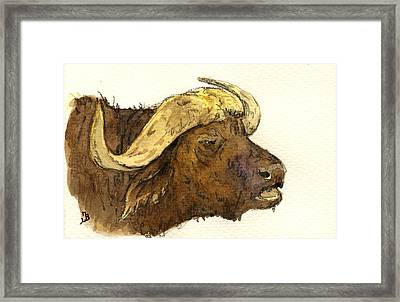 Buffalo Head Framed Print by Juan  Bosco
