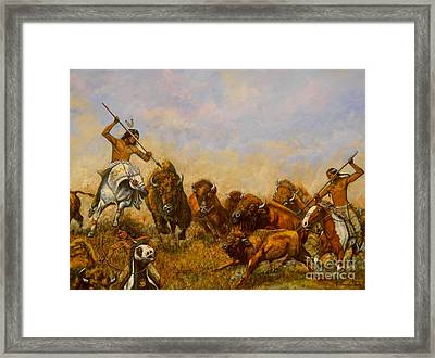 Buffalo Hunt Framed Print by Amanda Hukill