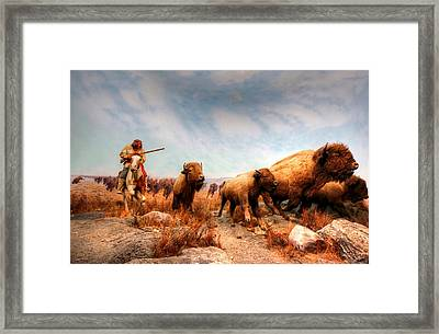 Buffalo Hunt Framed Print by Larry Trupp