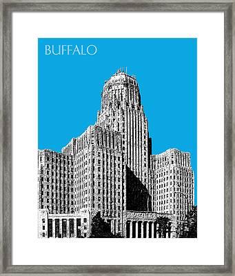 Buffalo New York Skyline 1 - Ice Blue Framed Print