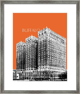 Buffalo New York Skyline 2 - Coral Framed Print by DB Artist