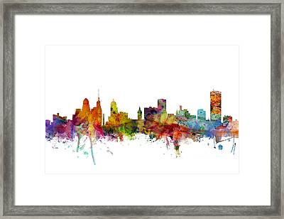 Buffalo New York Skyline Framed Print by Michael Tompsett