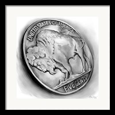 Coin Mixed Media Framed Prints