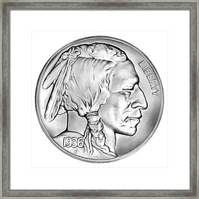 Buffalo Nickel Framed Print by Greg Joens