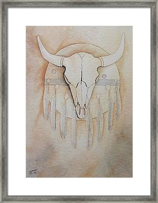 Framed Print featuring the painting Buffalo Shield by Richard Faulkner