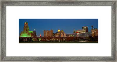 Buffalo, Skyline At Dusk, New York Framed Print by Panoramic Images