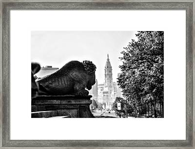 Buffalo Statue On The Parkway Framed Print