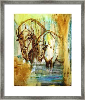 Framed Print featuring the painting Buffalo Waters by Jennifer Godshalk