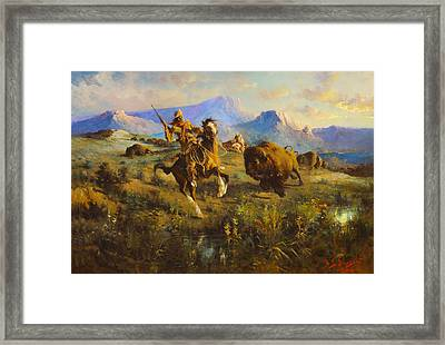 Buffalo Hunt Framed Print by Edgar Samuel Paxson
