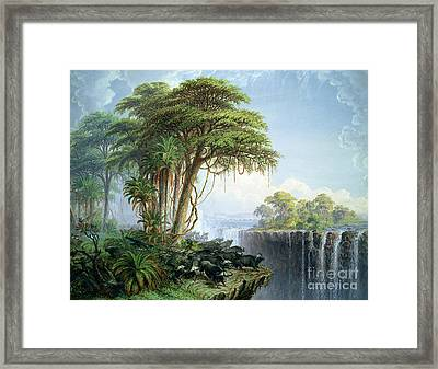 Buffalos Driven To The Edge Of The Chasm Opposite Garden Island Victoria Falls Framed Print by Thomas Baines