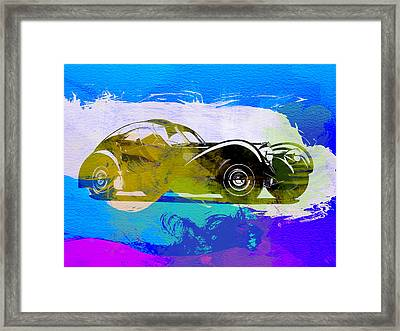 Bugatti Atlantic Watercolor 2 Framed Print by Naxart Studio