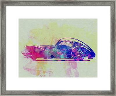 Bugatti Atlantic Watercolor 3 Framed Print by Naxart Studio