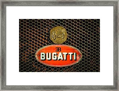 Bugatti Emblem -0903c Framed Print by Jill Reger
