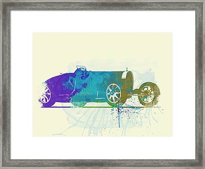 Bugatti Type 35 R Watercolor Framed Print by Naxart Studio