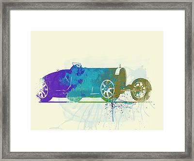 Bugatti Type 35 R Watercolor Framed Print by Naxart Studio